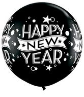 "36"" Black Happy New years Confetti balloon (2 Count)"