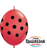 "6"" Quicklink Red 50 Count Big Polka Dots"