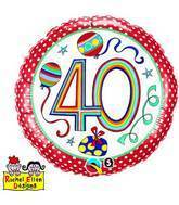 "18"" Dots & Stripes Age 40 Licensed Packaged Mylar Balloon"