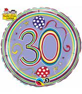 "18"" Dots & Stripes Age 30 Licensed Packaged Mylar Balloon"