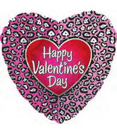 "18"" Happy Valentine&#39s Day Pink Cheetah"